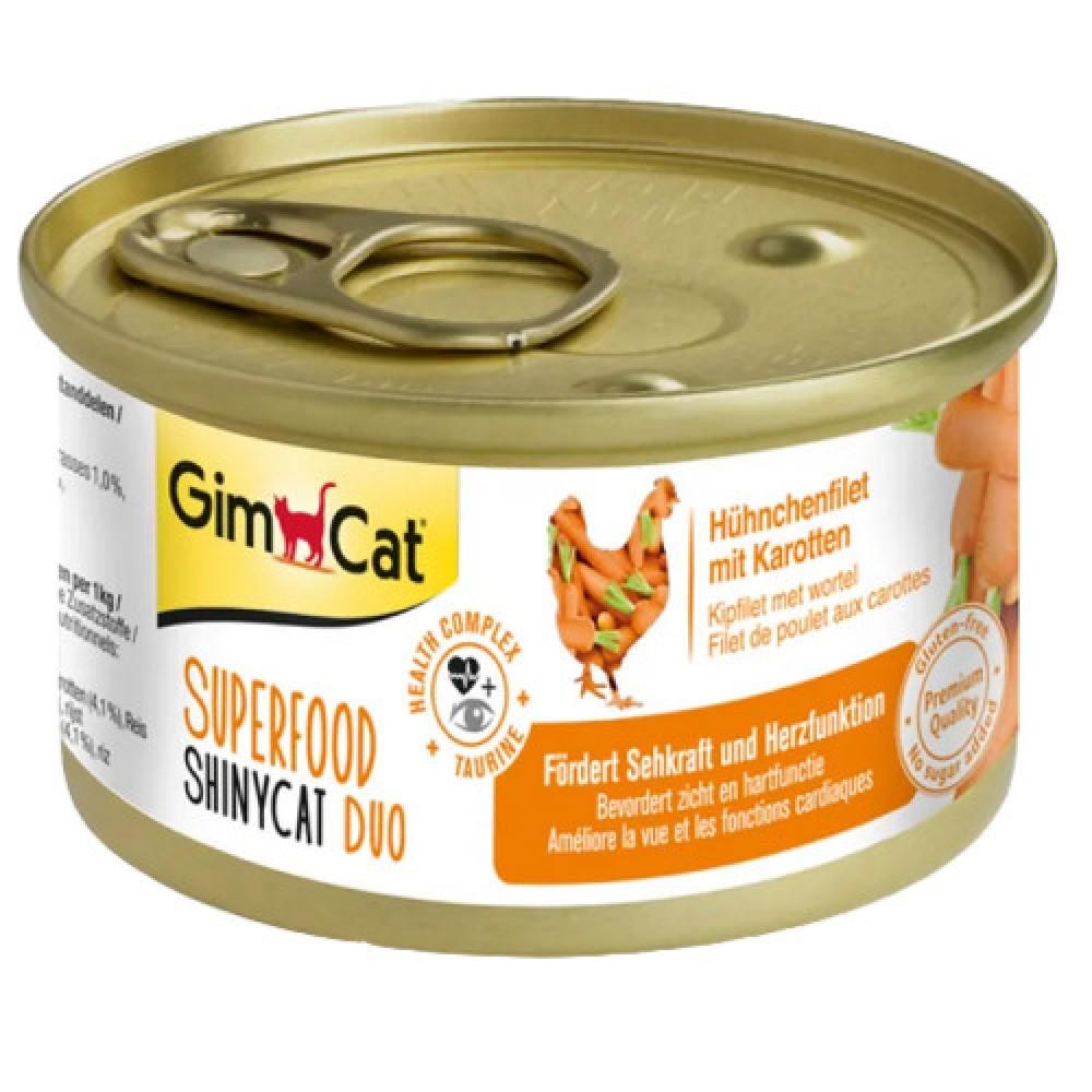 GimCat Superfood Shiny Cat Duo с курицей и морковью