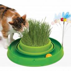 Игрушка для кота Catit  3in1 круглый лабиринт с шариком и травяной грядкой