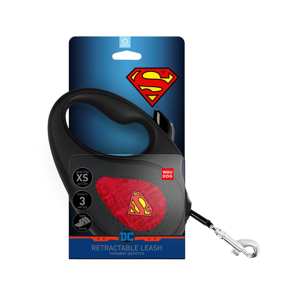 Поводок-рулетка WAUDOG с рисунком Супермен Лого Красный , размер L, до 50 кг, 5 м, черный