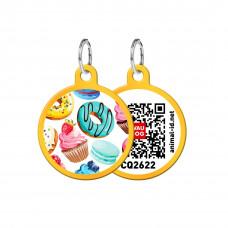 Адресник WAUDOG Smart ID с QR-паспортом, круг, с рисунком Пончики , диаметр 25 мм, золото,Персональный