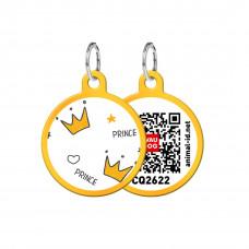 Адресник WAUDOG Smart ID с QR-паспортом, круг, с рисунком Короны , диаметр 25 мм, золото,Персональный