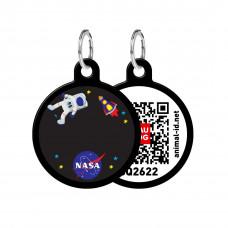 Адресник WAUDOG Smart ID с QR-паспортом, круг, с рисунком NASA , диаметр 30 мм, черный,Персональный