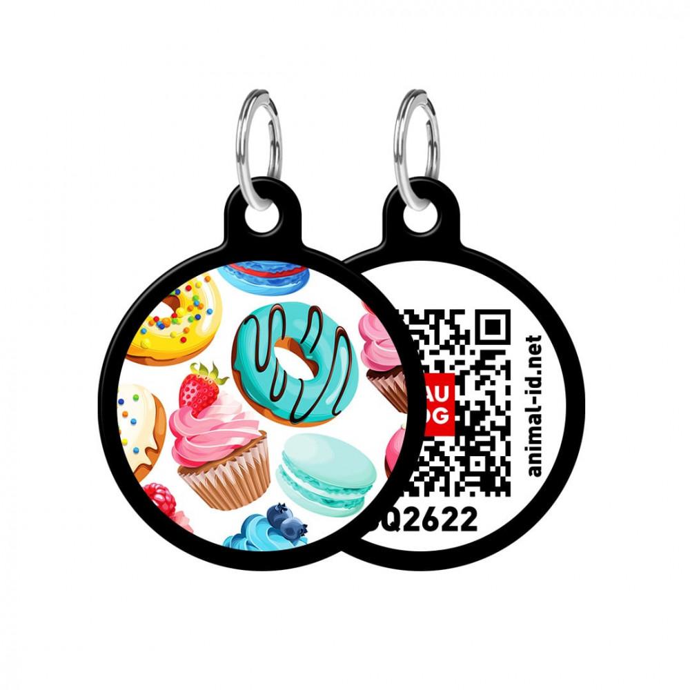 Адресник WAUDOG Smart ID с QR-паспортом, круг, с рисунком Пончики, диаметр 30 мм, черный