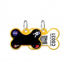 Адресник WAUDOG Smart ID с QR-паспортом, кость, с рисунком NASA, 31х21 мм, золото