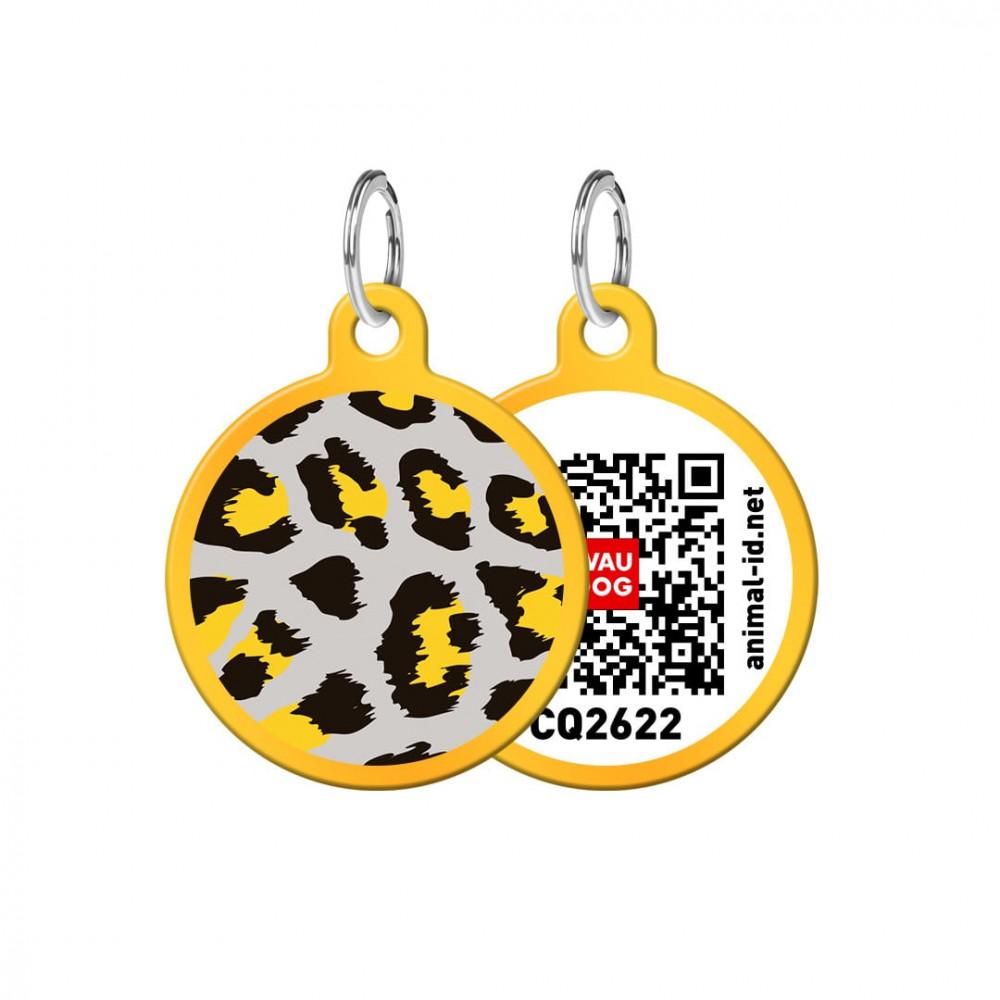 Адресник WAUDOG Smart ID с QR-паспортом, круг, с рисунком Леопард, диаметр 25 мм, золото