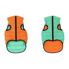 Курточка для собак AiryVest Lumi двусторонняя, светящаяся, размер М 50, салатово-оранжевая