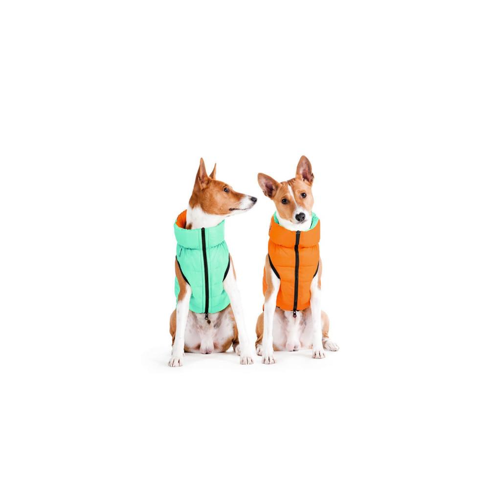 Курточка для собак AiryVest Lumi двусторонняя, светящаяся, размер XS 25, салатово-оранжевая