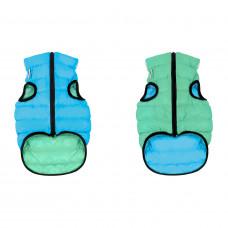 Курточка для собак AiryVest Lumi двусторонняя, светящаяся, размер S 30, салатово-голубая