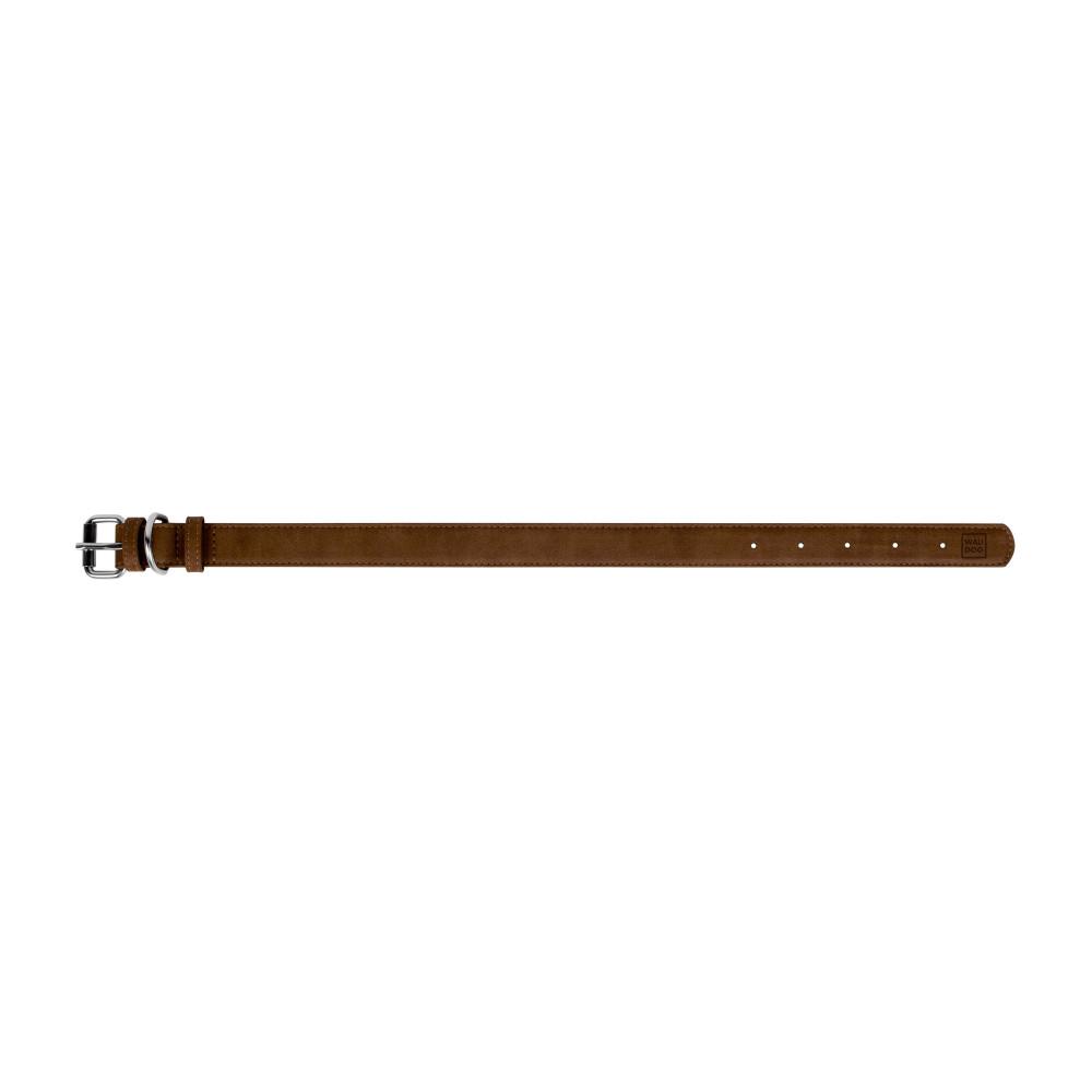 Ошейник WAUDOG Eco, экокожа, металлическая пряжка (ширина 35 мм, длина 46-60 см), коричневый