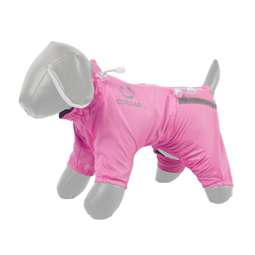 Дождевик COLLAR для собак (бультерьер, шарпей, стафф) M48 розовый