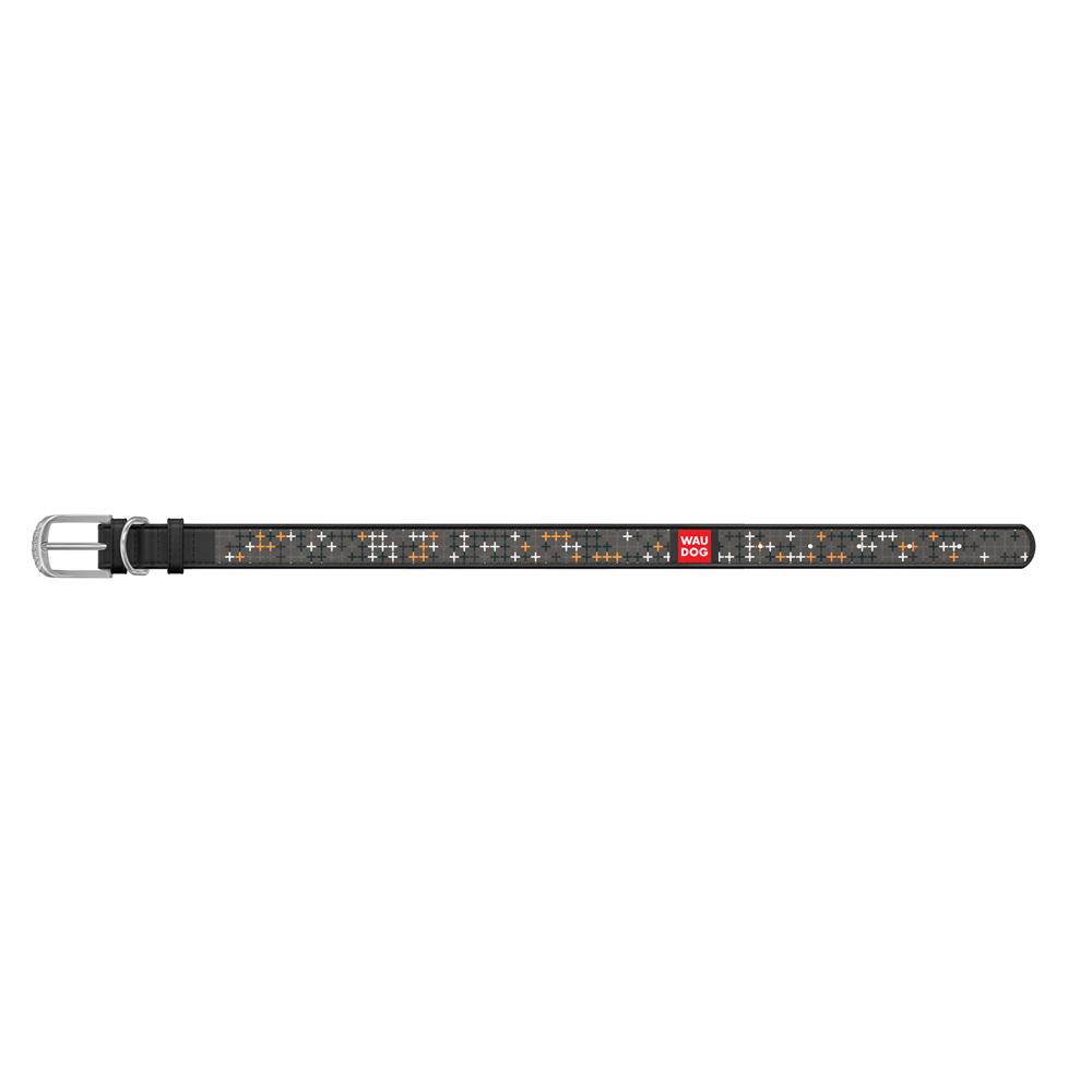 Ошейник WAUDOG Design с рисунком Крестики , премиум кожа, металлическая пряжка (ширина 12 мм, длин, черный