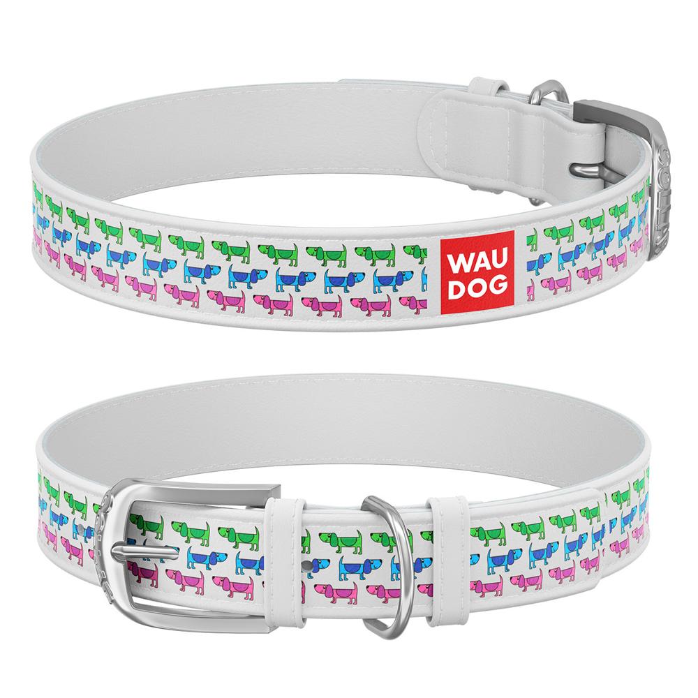 Ошейник WAUDOG Design с рисунком Парад собачек , премиум кожа, металлическая пряжка (ширина 12 мм,, белый