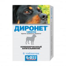 ДИРОНЕТ 500 (6 табл.) антигельминт для средних(6 табл.) антигельминт для собак 1т/10 кг (AB1425)