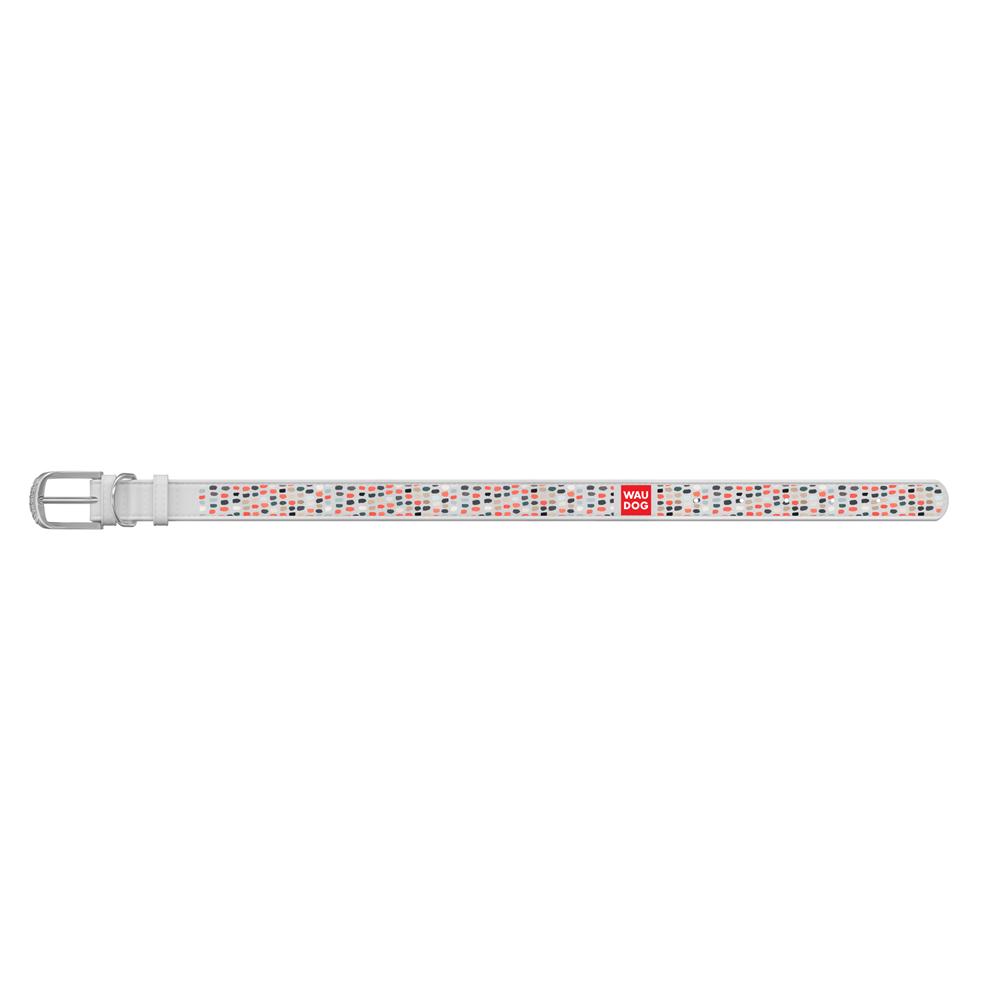 Ошейник WAUDOG Design с рисунком Смешные точки , премиум кожа, металлическая пряжка (ширина 12 мм,, белый