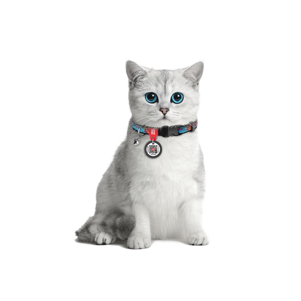 Ошейник для кота WAUDOG Nylon с рисунком Лето ( ширина 10 мм, длина 20-30 см)