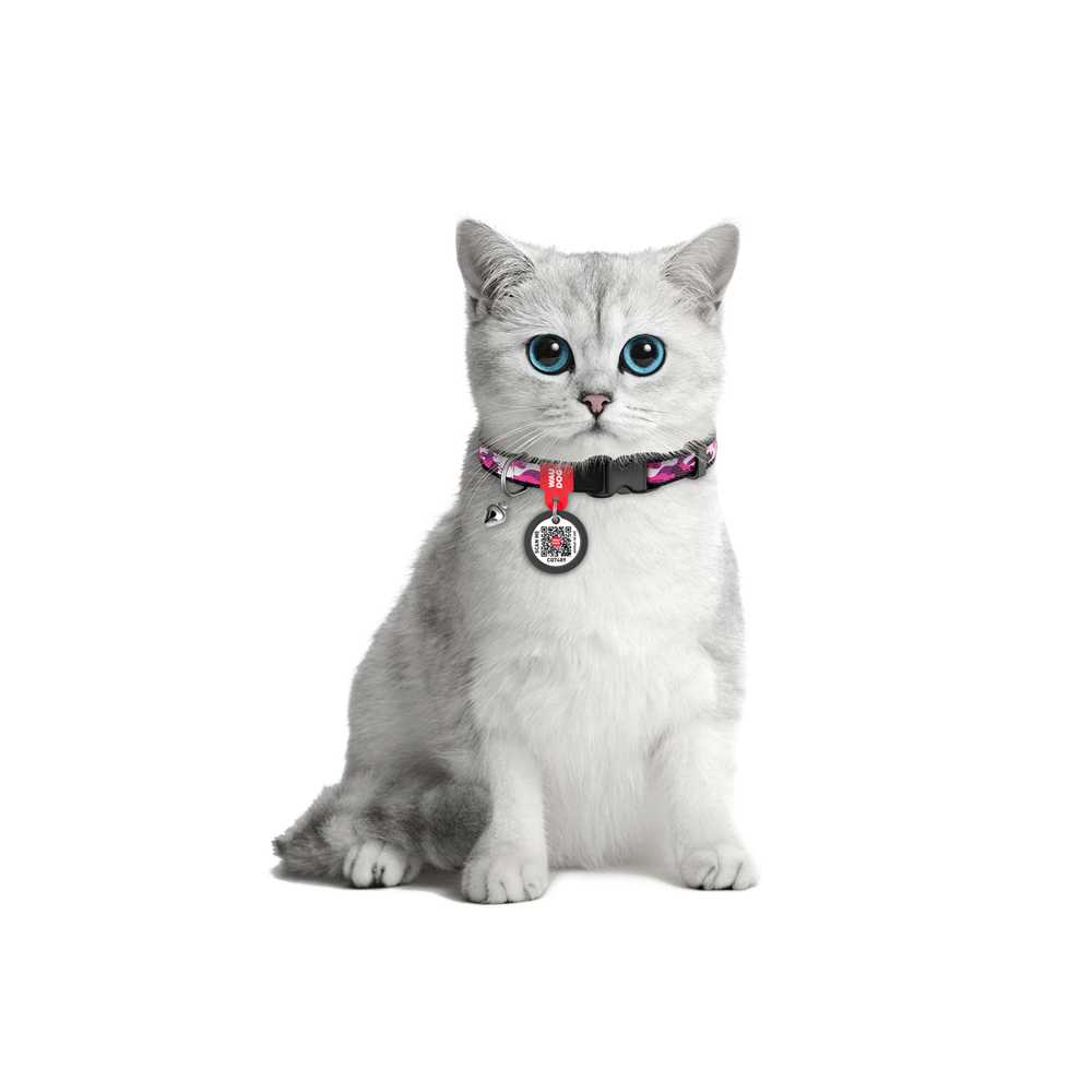 Ошейник для кота WAUDOG Nylon с рисунком Розовый камо (ширина 10 мм, длина 20-30 см)