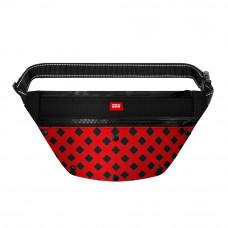 Поясная сумка - бананка Waudog Textile для корма и аксесcуаров, рисунок Шотландка красная , размер