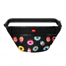 Поясная сумка - бананка Waudog Textile для корма и аксесcуаров, рисунок Пончики , размер 33*17*10 с