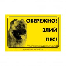 Наклейка ОБЕРЕЖНО, ЗЛИЙ ПЕС кавказская овчарка