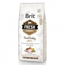 Сухой корм для взрослых собак Brit Fresh Turkey/Pea Light Fit & Slim Adult индейка и горошек 12кг