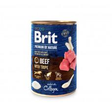 Консервы для собак Brit Premium by Nature k говядина с требухой 400гр