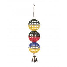 Три шарика с колокольчиком пластмассовые 16см