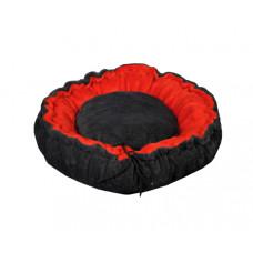 Лежак (лежанка) для кошек и собак (из меха) Мур-Мяу Релакс Серо-красный