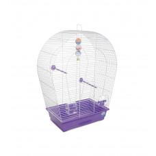 Клетка для птиц Арка большая 44x27x75см белая/фиолетовая
