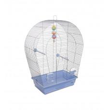 Клетка для птиц Арка большая 44x27x75см хром/светло-голубая