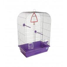 Клетка для птиц Аурика 44x27x64см хром/фиолетовая