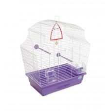 Клетка для птиц Мери 44x27x54см белая/фиолетовая