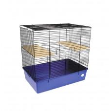 Клетка для грызунов Шиншилла 70x44x66см черная/синяя