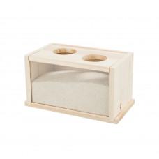 Ванна для грызунов 22x12x12см деревянная с песком