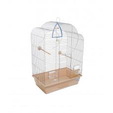 Клетка для птиц Воля 44x27x63см хром/бежевая