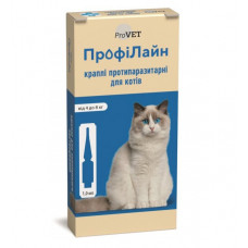 Капли на холку Профилайн инсектоакарицид для кошек 4кг-8кг 1 упаковка 1 пипетка 1мл