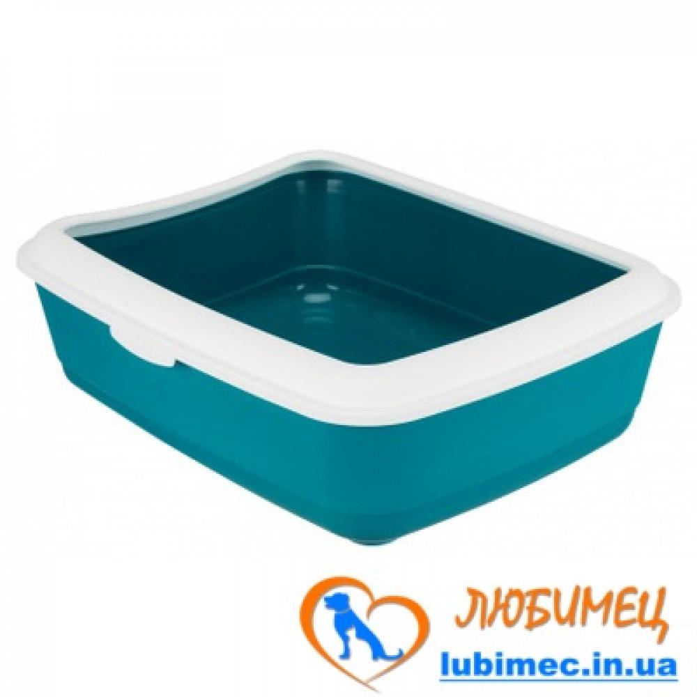 Туалет д/котов 'Classic с рамкой, 37 × 15 × 47 см, бежевый/кремовый, пластик