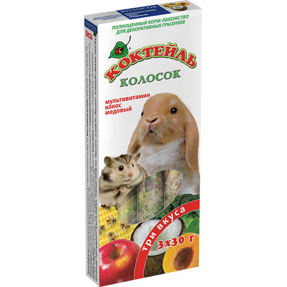 Колосок Коктейль  для грызунов (мультивитамин,кокос,мед) 90г