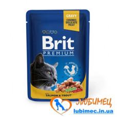 Brit Premium Cat pouch 100 g лосось и форель