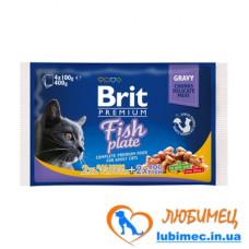 Brit Premium Cat Набор паучей 4шт х 100g рыбная тарелка