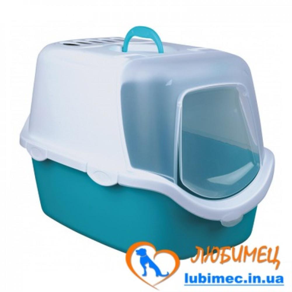 Туалет закрыт.д/кот. Vico Easy Clean с дверью 40*40*56cm аквамарин/белый