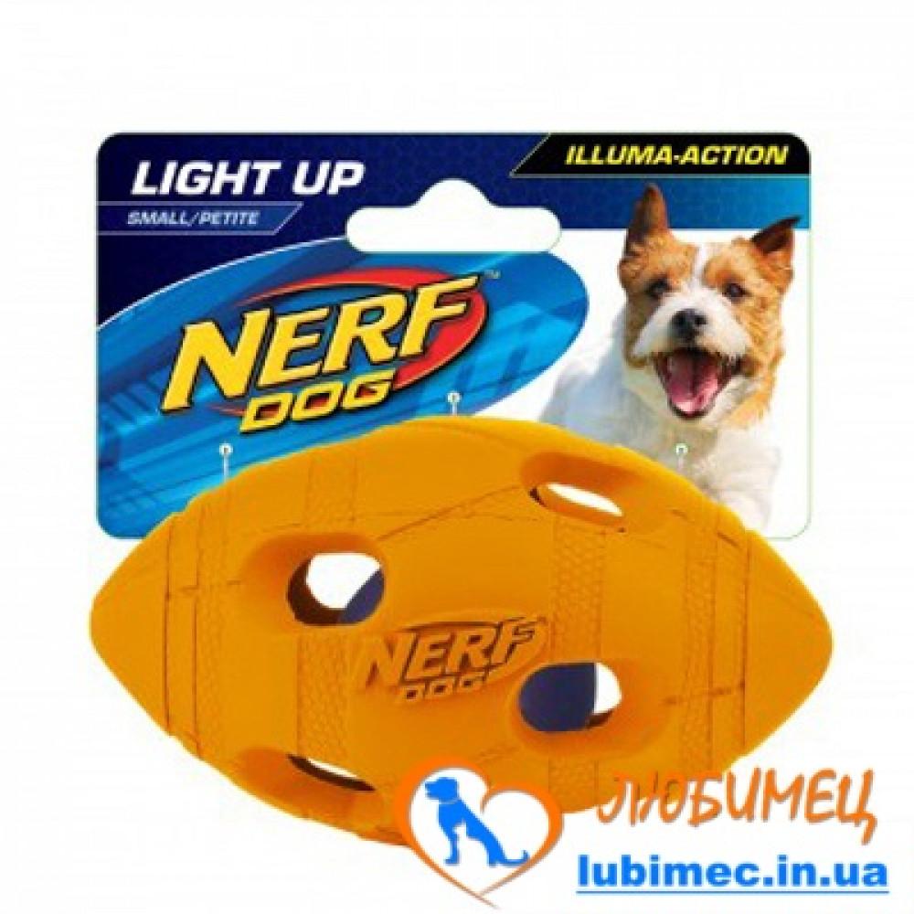 Игрушка NERF LED BASH Football мячик светящийся зеленый/оранжевый маленький д/собак