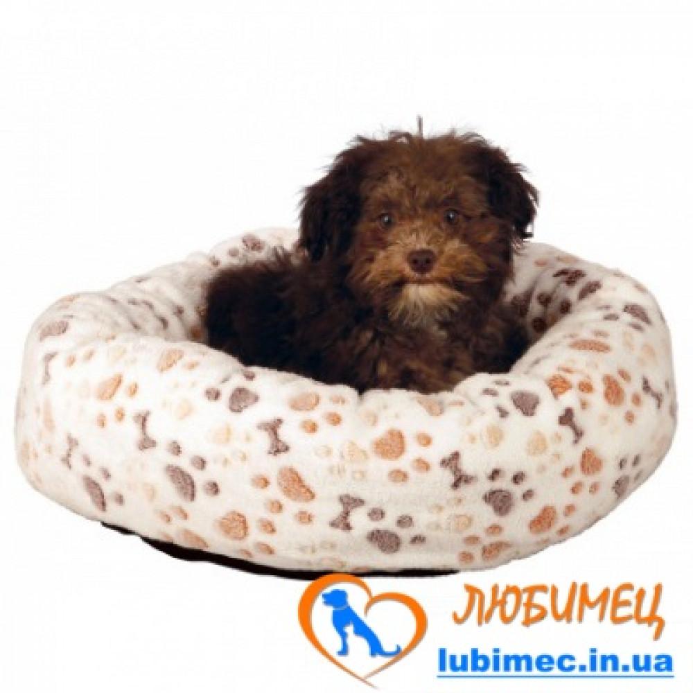 Лежак Lingo 50*40см белый/бежевый лапка/косточка
