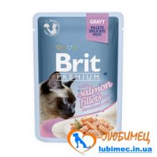 Brit Premium Cat pouch 85 g филе лосося в соусе д/стерилизованных