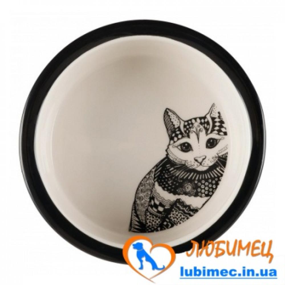 Миска Zentangle керам. д/котов 0,3л/12см белая/черная