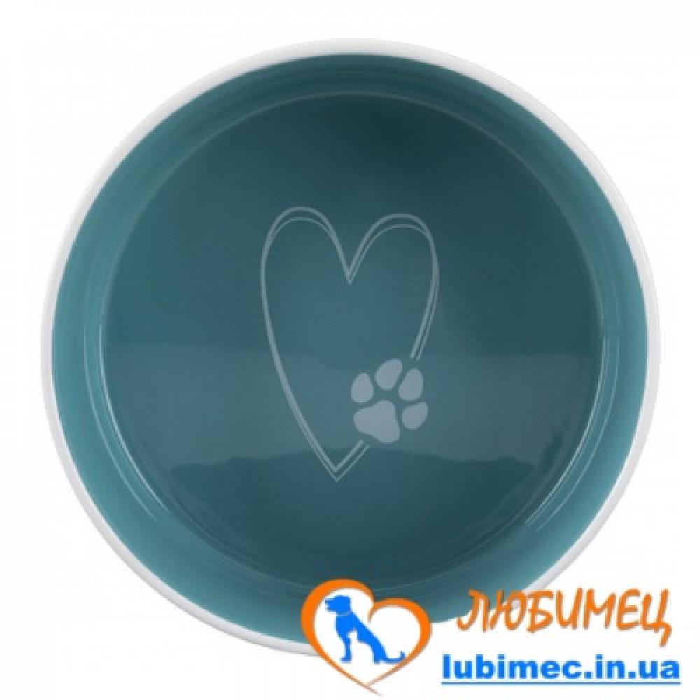 Миска д/собак Pet's Home , 0.3 л/ 12 см,керамика, кремовая/голубая