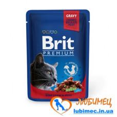 Brit Premium Cat pouch 100 g тушеная говядина и горошек