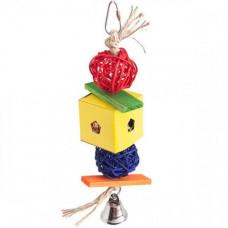 Игрушка Flamingo Papyr Parakeet Toy Cube Small плетеная подвесная, для средних и крупных попугаев