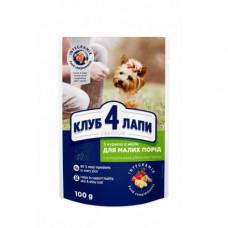 Влажный корм Клуб 4 Лапы Premium для собак малых пород, с курицей в желе, 100 г