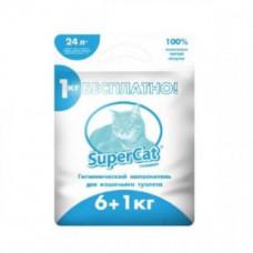 Древесный наполнитель SuperCat для туалета стандарт, 6+1 кг, синий