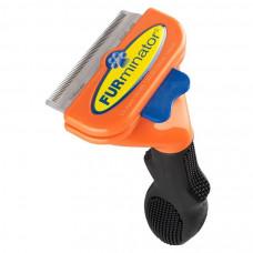Фурминатор HMD с кнопкой для чистки шерстки кошек и собак Черный с оранжевым